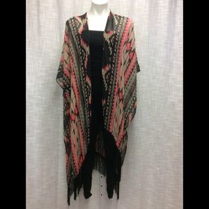 Accessories - Pink, tan & black tribal Shrug with fringe OS